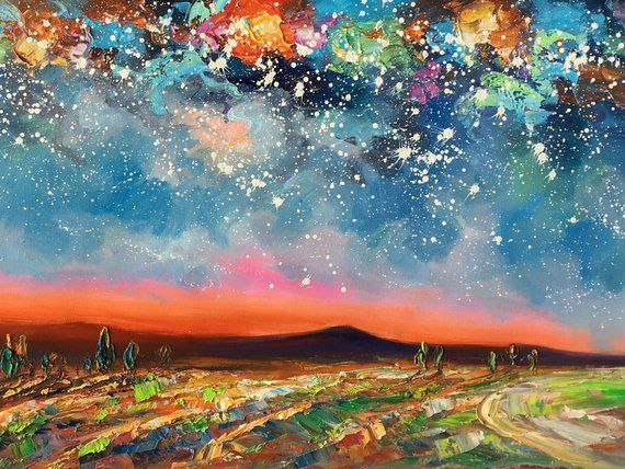 Landscape Oil Painting Starry Night Sky Painting Original Etsy Abstract Landscape Painting Oil Painting Landscape Large Canvas Painting