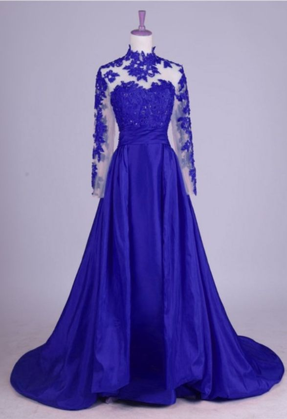 Royal Blue Long Sleeve Prom Dress,lace Prom Dresses, Formal Evening Gown