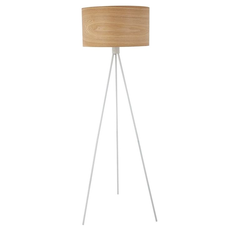 TAMBOUR FOREST white metal floor lamp with cotton shade H 148 cm   Maisons du Monde