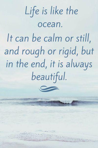 La vie est comme l'océan.  Il peut être calme devis de l'océan