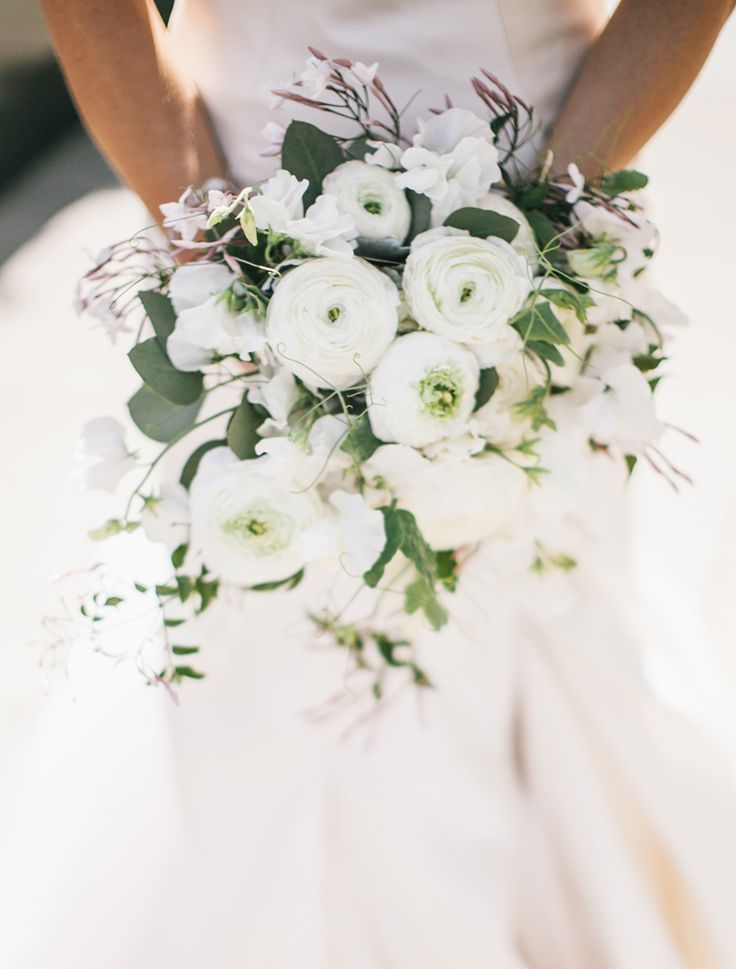 Gorgeous all white ranunculus wedding bouquet (Clane Gessel Photography)