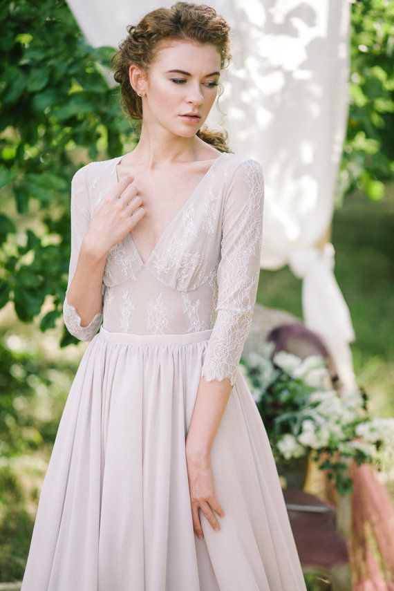 Non-corset A-line silhouette lavender wedding dress by CathyTelle
