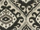 Southwestern ikat style medallion-like designs in shades of gray, black, tan, and ivory printed on a cotton canvas duck base. This fabric is ideal for curtains and draperies, valances, bedding (duvets, comforters, etc.), slipcovers, light upholstery, bedskirts, pillows, and more. Medium drape.