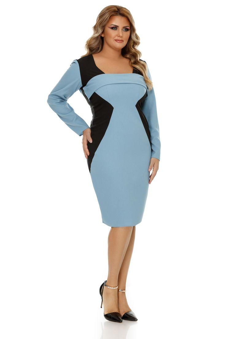 Rochie Plus Size Zora Bleu - O rochie elegantă midi în care culorile mai închise sunt dispuse în așa fel încât să subțieze optic silueta este o investiție de care te vei bucura în nenumărate rânduri. De aceea, îți facem cunoștință cu rochia plus size Zora, realizată din triplu voal, cu o croială conică și