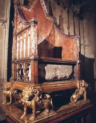 Stone of Scone, Stone of Destiny, Westminster coronation chair, where generations of Scottish monarchs since the 9th century were crowned - now in Edinburgh Castle