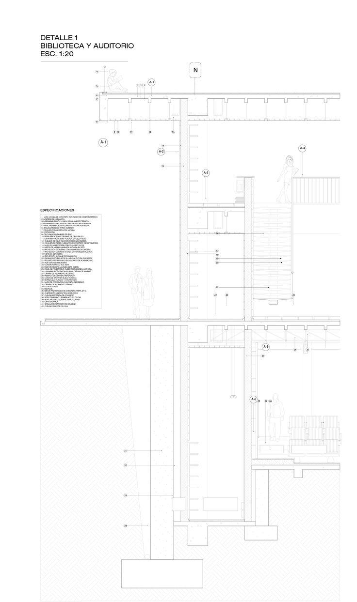 Corte por fachada, por Terraza, Biblioteca y Auditorio. César Ortega Y Santiago Arroyave L.