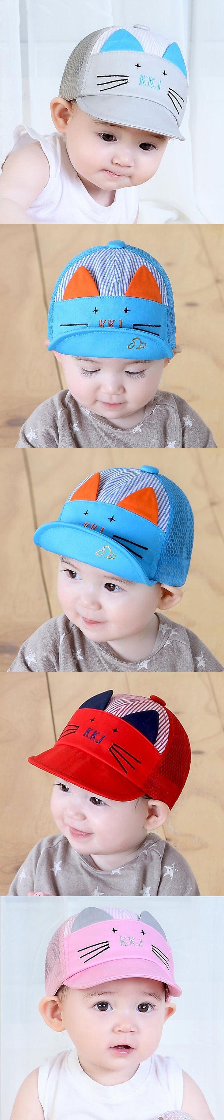 Cute Cartoon Cat Hat Kids Baseball Cap Infant Boy Girl Soft Cotton Caps Infant Visors Sun Hat Summer Children Mesh Cap