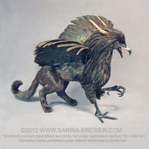 """""""OBSIDIAN""""  ©2012 www.Sarina-Brewer.com  Taxidermy sculpture by artist Sarina Brewer, pioneer and co-founder of the taxidermy art movement. See the work that was the catalyst for the art movement at https://www.facebook.com/Rogue.Taxidermy.Art/ Sculptural concept copyrighted and protected under registration number VA1-988-621. Derivative works prohibited under federal intellectual property law. #Fantasy #Art #Rogue #Taxidermy #Griffin #Gryphon #Mythology #Sculpture"""