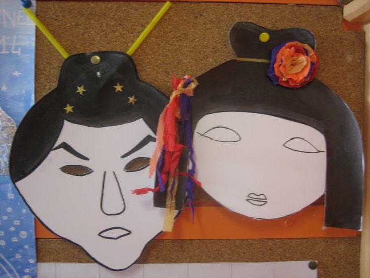 Masques pour carnaval sur le thème de Japon : Samourai & Geisha