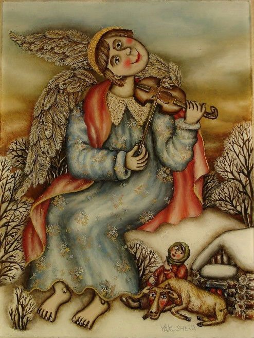 Gallery.ru / Ангел играющий на скрипке - Живопись на стекле - julia-yakusheva