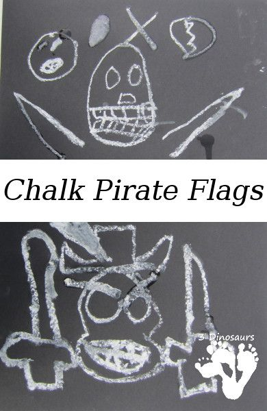 Chalk Pirate Flags | 3 Dinosaurs