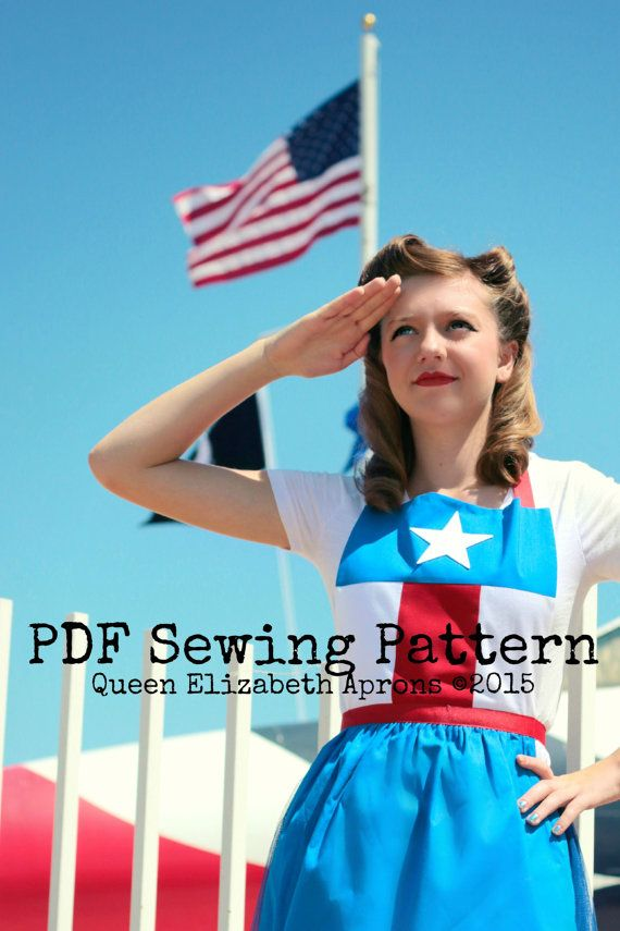 Teen/ Adult CAPTAIN AMERICA Pdf Sewing PATTERN. Marvel Comics SuperHero Costume Apron. Fits Girls sizes 9-12 and Women 0-12 Birthday Party