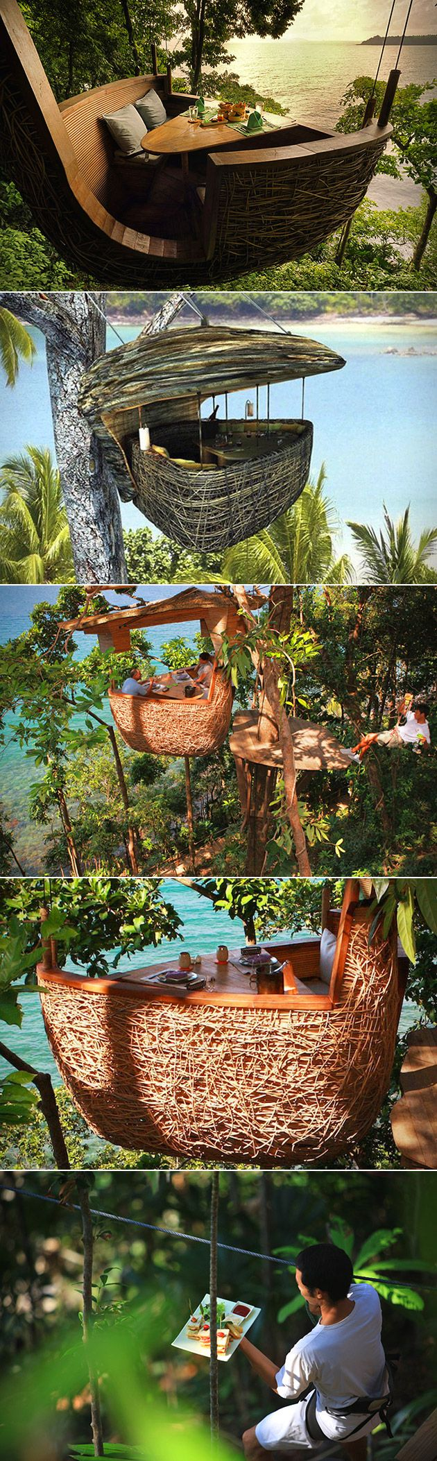 Now live your childhood Jungle Book dreams at the Soneva Kiri resort in Thailand, where their Treepod Dining experience promises an astounding meal.   Located on the remote Thai island of Kood, the resort features 42 resort villa and 21 private residences spanning 150 acres of beach and tropical rainforest.