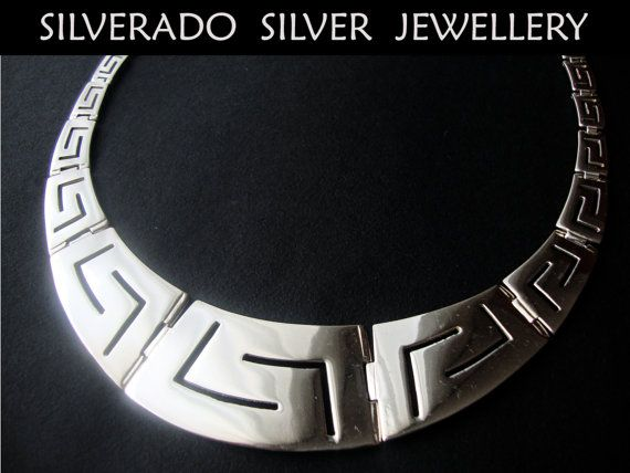 Greek eternity key design big wide necklace by SilveradoJewellery, €270.00