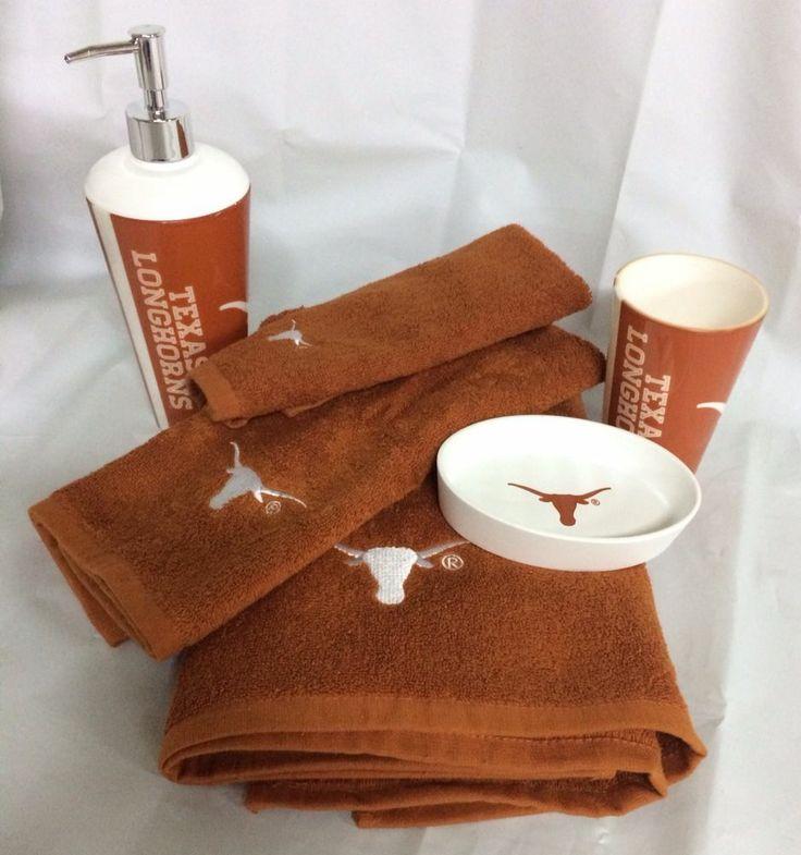 Texas Longhorns Bath 6 Piece Set Soap Dish Cup Pump Hand Tip Towel NEW  #TexasLonghorns