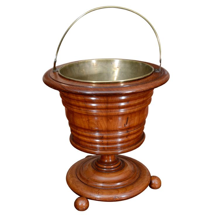 Victorian, walnut peat bucket HEIGHT:	15 in. (38 cm) DIAMETER:	14 in. (36 cm) DEALER LOCATION:	New York, NY| From a unique collection of antique and modern fireplace tools and chimney pots at https://www.1stdibs.com/furniture/building-garden/fireplace-tools-chimney-pots/