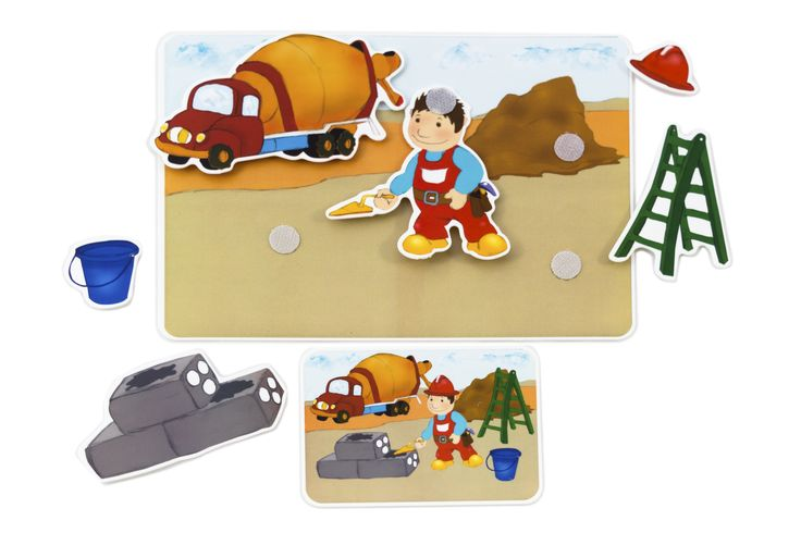 Picnmix- People at Work- Builder's Card. What tools does the builder use? What does he wear on his head?