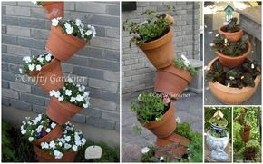 How to make a tower of tipsy pots for interest in your garden | Crafty Gardener