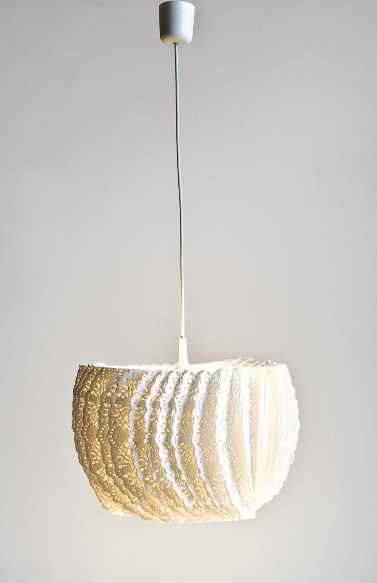 BON APPETIT paper napkin lamp, design @dariadbwt – as seen at SaloneSatellite2015, iSaloni, Milan #lamp #paper #lighting #lampa #oświetlenie #papier #fuorisalone #milandesignweek #dbwt #mdw15 #salonesatellite