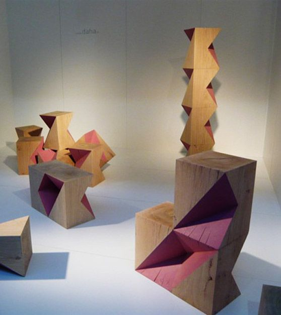 Cubes pliés - oak - cube - pink