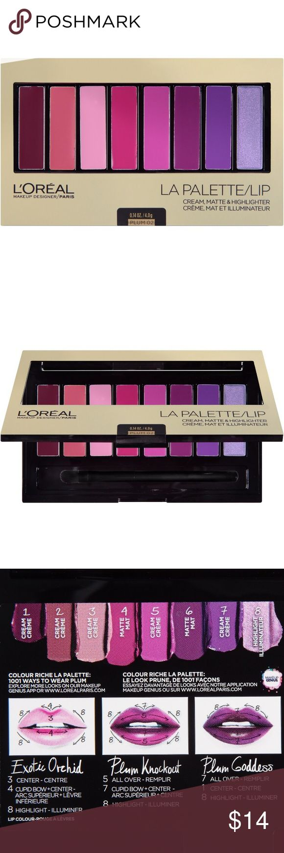 NEW L'ORÉAL La Palette Lip - Plum 👄 BRAND NEW, sealed & unopened palette of 8 beautiful colors that let you create an infinite number of looks. From my smoke free home. Original Retail: $19.   👄ABOUT: L'Oreal's Color Riche La Palette Lip Plum gives you 1001 ways to wear plum! L'Oreal's first multi-finish and multi-color  lip palette has expertly curated colors with 3 unique multi-finish textures; cream, matte and highlighter. Benefits:  👄 Alluring color, designer textures, infinite looks…