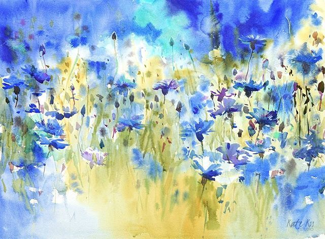 Day two - cornflowers Blue Drifts, watercolor 57x42cm Available  I will be posting floral painting every evening until Sunday. Stay tuned. If interested in buying please pm me.
