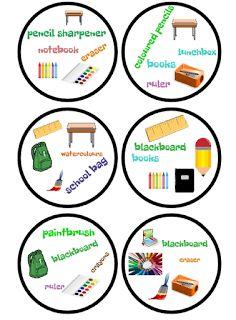 English Freak: SCHOOL OBJECTS BINGO, FLASHCARDS AND DOBBLE (PRINTABLE)