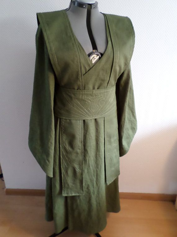 MADE TO order from August 2016: green linen Star Wars inspired Jedi robe,dress,gown wrapdress costume cosplay larp pagan  pixie SF