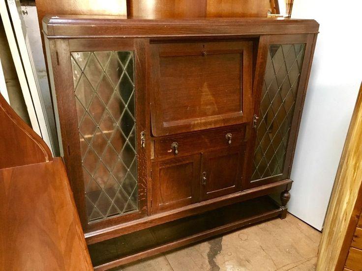 Antique Art Deco Leadlight Bureau /Dropfront Desk /Secretaire /Bookcase /Display  | eBay