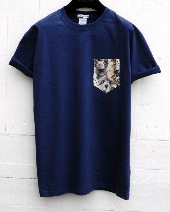Men's Cats Pattern Navy Blue Pocket T-Shirt by HeartLabelTees