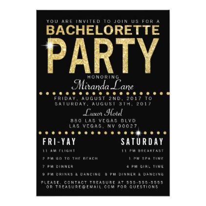 #bachelorette #party #invitations - #Gold Glam & Leopard Back Bachelorette Party Card