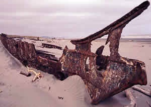 The wreck of the Hydrabad, now in the sand dunes at Waitarere Beach