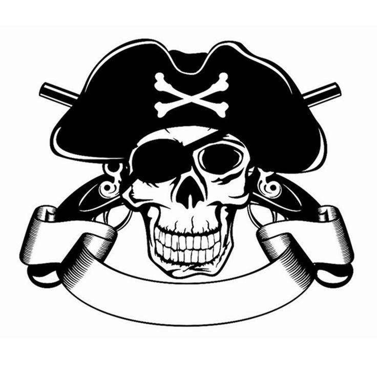 Череп Хэллоуин Пиратская Пистолет Наклейки Панк Смерть Наклейка Хэллоуин Дьявол Плакат Имя Окна Автомобиля Стены Искусства Наклейки Parede Росписи Декора