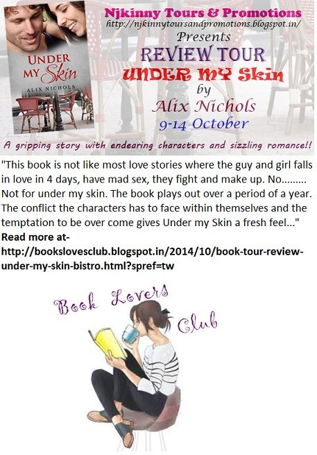 #BookReview + #Giveaway #UnderMySkin by @Aalix_Nichols on @AnkevanZweel's blog.. Read the verdict and enter #Giveaway to win $15 Amazon GC, 2 paperback copies of the book!  http://bookslovesclub.blogspot.in/2014/10/book-tour-review-under-my-skin-bistro.html?spref=tw  #ReviewTour #Romance