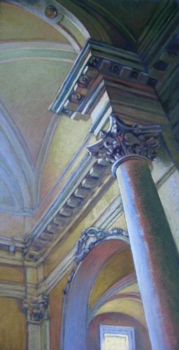 Colonna pastel painting of the interior of an Italian cathedral by Jill Stefani Wagner.