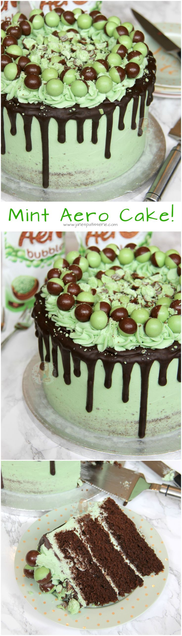 Mint Aero Cake! ❤️ A Three Layer Chocolate Mint Sponge, with Mint Buttercream Frosting, Dark Chocolate Drip, and Mint Aero Bubbles Galore!