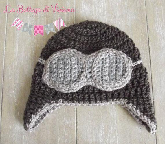 Baby pilot hat/Newborn to Toddler Crocheted by LaBottegaDiViviana
