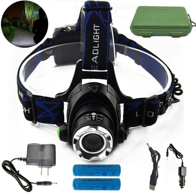 6000LM LED 18650 Headlamp Head Light Flashlight Rechargeable Torch Lamp