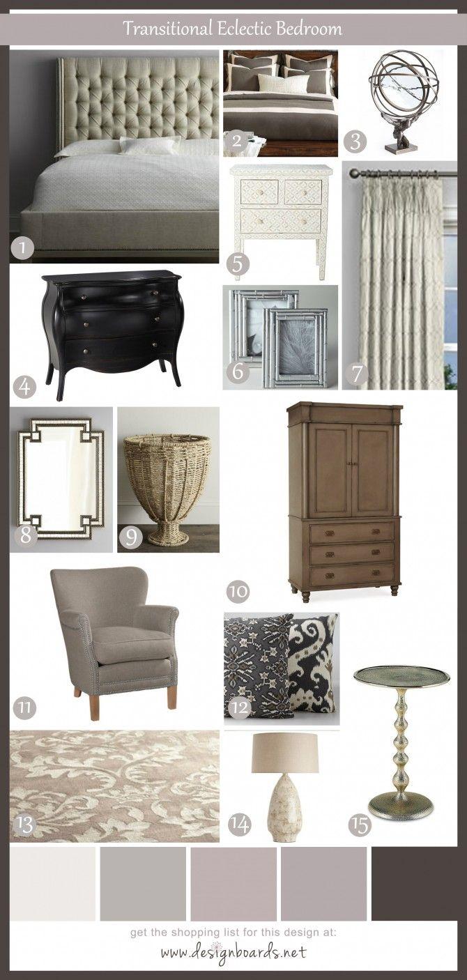 Grey bedroom color schemes - Transitional Eclectic Bedroom 9 Design Boards Bedroom Silver Grey Brown