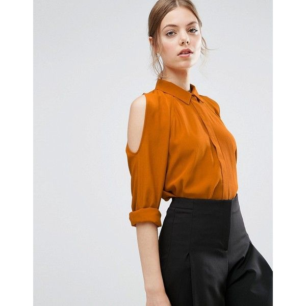 ASOS Cold Shoulder Oversized Blouse with Batwing Sleeve (£41) ❤ liked on Polyvore featuring tops, blouses, ochre, cut out shoulder blouse, batwing sleeve blouse, batwing sleeve tops, open shoulder blouse and asos tops