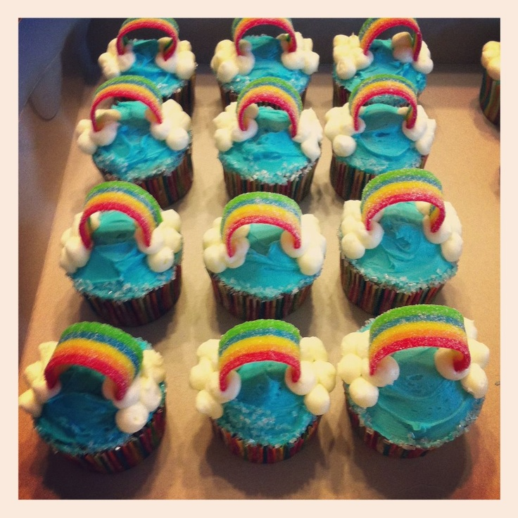 Over The Rainbow Baby Shower Cupcakes