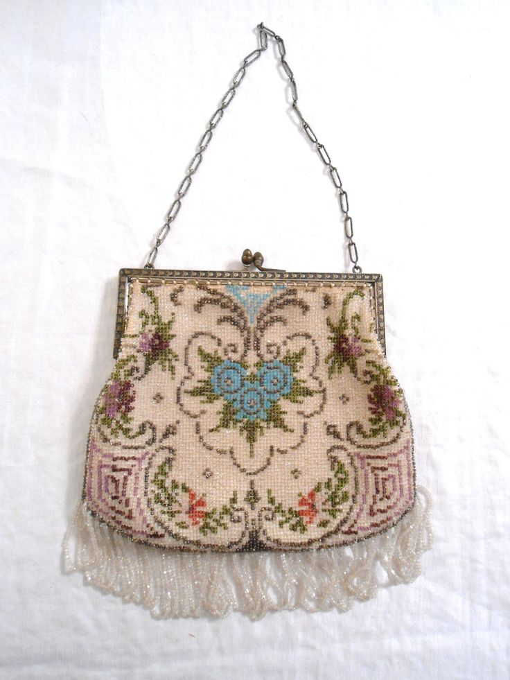 Vintage Purse Glass Micro Bead Victorian Tapestry Antique Purse with the white bead mark. $325.00, via Etsy.
