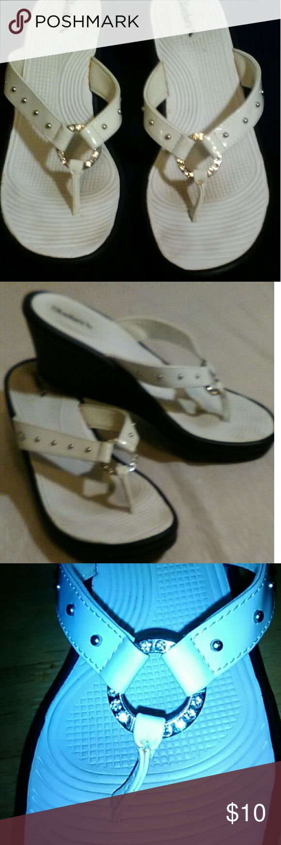 White Skechers Sandals w/ Low Wedge Heel These are nice for the summer! Skechers Shoes Wedges