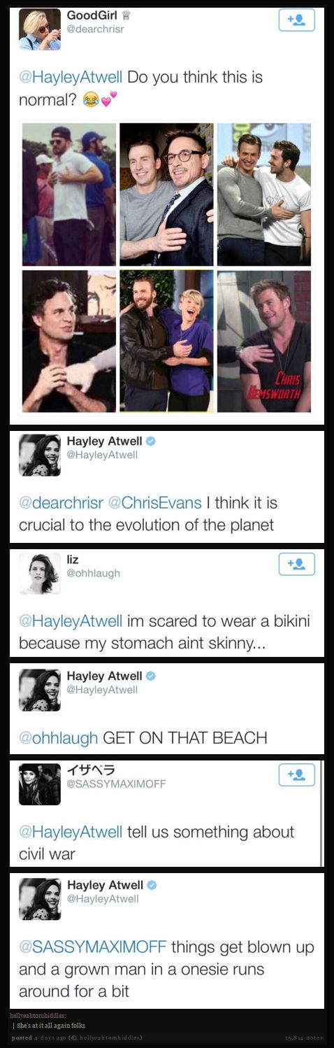 Hayley Atwell's twitter being every bit like her character  #RePin by AT Social Media Marketing - Pinterest Marketing Specialists ATSocialMedia.co.uk