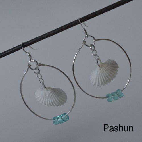 ronnie fieg x filling pieces shoes Seashell Jewelry     White Pecten Shell Hoop Earrings  0417  via Etsy