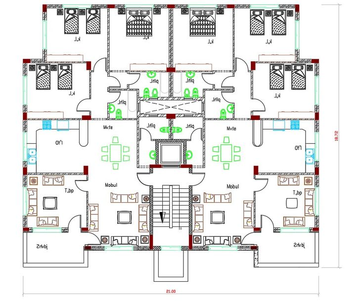 AutoCAD Drawing of 3 BHK residence house apartment ...