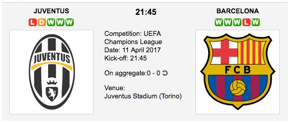 Juventus F.C. v FC Barcelona UEFA Champions League Quarter Final predictions, betting tips and match preview. Our tipsters are backing the goals between these European giants at the Juventus Stadium, Torino. Juventus vs. Barcelona Match Date: 11 April 2017 (local time) Venue: Juventus Stadium (Tori