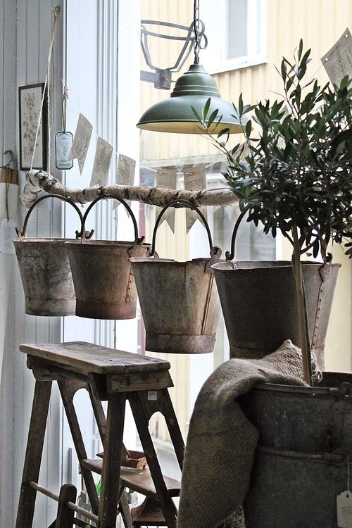 Display buckets from hanging branch - could use this idea for watering cans. Color....organic looking