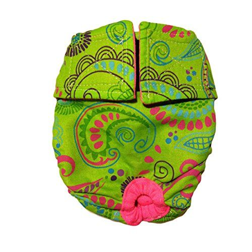 Dog Diapers - Made in USA - Lime Paisley Washable Cover-up / Diaper, XXL for Dog Incontinence, Housetraining and Females in Heat -- Continue with the details at the image link. #DogHousebreakingSupplies