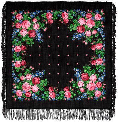 Платки 89х89 : Варенька 1317-18, павлопосадский платок шерстяной с шерстяной бахромой